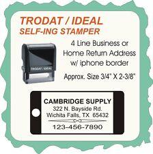 Home or Biz Return Address,4 Line w/iphone border, Trodat / Ideal 4914 Self-Ink