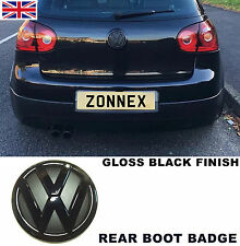 VW GLOSS BLACK REAR BOOT BADGE EMBLEM VOLKSWAGEN GOLF MK5 MKV GT TDI FSI SDI