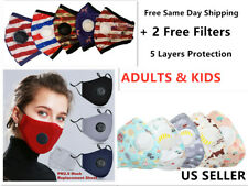 Cotton Reusable Washable Face Mask With 2 Pm 2.5 Filter adults and kids