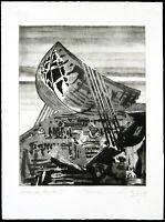 """DDR-Kunst. """"Arche Noah II"""" 1989. Aquatinta Christian LANG (*1953 D) handsigniert"""