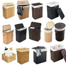 New Bathroom Laundry Hamper Basket Wicker Clothes Storage Bag Sorter Holder Lid