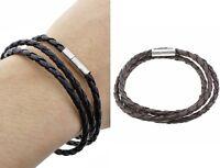 Bracelet homme et femme, simili cuir tressé marron, mixte, bijoux fantaisie neuf