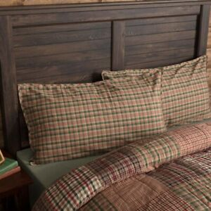 VHC Brands Rustic King Sham Red Clement Cotton Plaid Rectangle Bedroom Decor