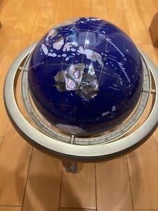 "Unique Art Gemstone 15"" World Globe With Compass"