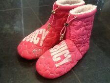 Juicy Couture NUOVO E ORIGINALE Girls Rosa Bootie Pantofole Con Logo UK 12, EU 31