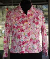 Pink Floral Beaded Sequined Light Weight Jacket Sz. L