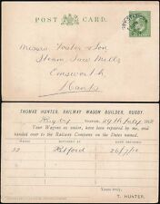 RAILWAY GB KE7 STATIONERY 1912 RUGBY STATION DOUBLE RING THOS.HUNTER STO PRINTED