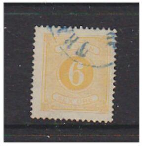 Sweden - 1874/89, 6 ore Yel Due (Perf 14) - F/U - SG D30