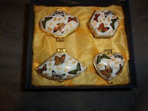 NEW Boxed Set Of 4 Butterfly Porcelain Hinged Trinket/pill Boxes-NIB (C50)