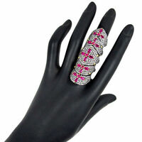 3.90ct Diamond Pave Ruby Armor Knuckle Ring 925 Sterling Silver Fine Jewelry