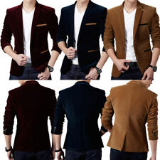 Men Casual Business Velvet Suit Slim Fit Coat One Button Blazer Tops Outwear New