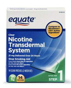 2pk.- Equate Nicotine Transdermal System Step 1 Patches 21mg - 28 Ct Exp: 2022 !