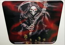 Grim Reaper Red Cruiser Resin Domed Motorcycle Tank Pad