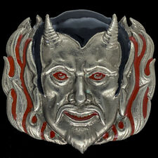 Devil Satan Lucifer Demon 666 Satanic Gothic Goth Biker NOS Vintage Belt Buckle