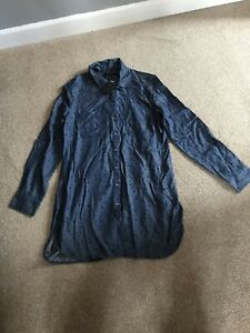 Brand New M&S Collection Womens Long Sleeve Denim Style Star Pattern Long Shirt
