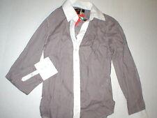 New NWT Womens Ben Sherman S White Brick Red Blouse Button Down Shirt Cotton