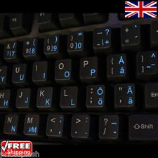 Swedish Finnish Transparent Keyboard Stickers With Blue Letters for Laptop PC