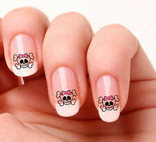 20 Nail Art Stickers Transfers Decals #536 - Skull & pink bow. Just peel & stick