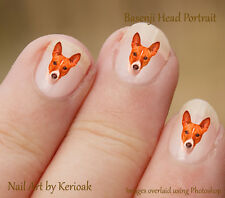 Basenji Portrait , 24 Unique Dog Nail Art Stickers Decals by Kerioak