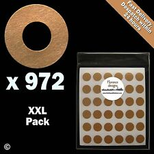 972 x Manilla/Buff/Kraft hang tag ring/round/hole reinforcement stickers/labels