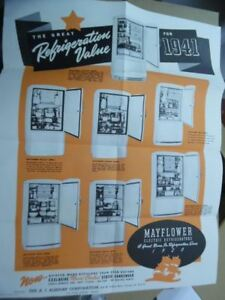 1941 Mayflower Refrigerator Poster Brochure A.J. Alsdorf Corp Chicago Vintage VG
