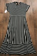 NEW&TAGS WAREHOUSE dress stretch jersey SIZE 12 ruffle vertical stripe wedding