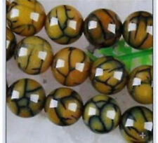 6~12mm Yellow Dragon Veins Agate Round Loose Beads Gems 14 ""