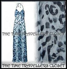 KATE MOSS TOPSHOP Sheer Grey Leopard Print Maxi Halter Beach Dress UK 14 42 10