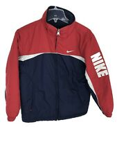 Vintage Nike Reversible Fleece Jacket Coat Youth Sz L 14-16 Silver Tag Red Blue