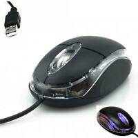 New Wired USB Optical Mouse For Pc Laptop Computer Scroll Wheel Black