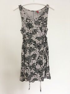 H&M Dress Sz 10 36 Womens Grey Roses Black Skater Zip M S Hm Floral Tunic Top x