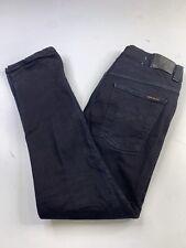Nudie Jeans Organic Cotton Thin Finn Black Ring Denim Jeans Mens 36x34