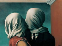 """RENE MAGRITTE Surrealism Art Poster or Premium Canvas Print """"The Lovers II"""" 1928"""
