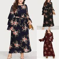 Plus Size Womens Boho Long Sleeve Floral Print O Neck Long Party Maxi Dresses US