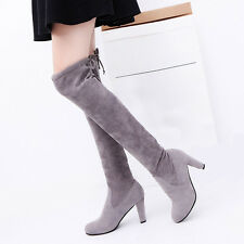 Sexy Autumn Winter Snow Boots Women Suede Knee Long Thigh Boot Flat Flock Shoes