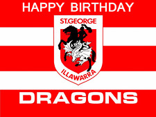 ST GEORGE DRAGONS NRL Cake Image Personalised Birthday Decoration Party Topper