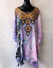 Loose Fitting Sheer Embellished Kaftan Digital Print Size 14-16-18-20-22-24