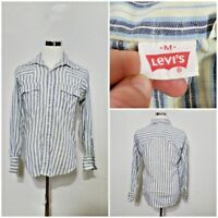 Levi's Shirt Men's M Pearl Snap Blue/White Stripe U.S Made inv#z9976