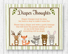 Woodland Animals Diaper Thoughts Late Night Diaper Baby Shower Game