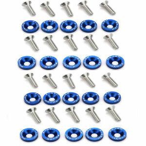 20PC BLUE JDM BILLET ALUMINUM FENDER BUMPER WASHER/BOLT ENGINE BAY DRESS UP KIT