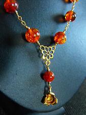 VERMEIL GOLD necklace carved Baltic AMBER GEMSTONE 925 sterling silver THAI ROSE