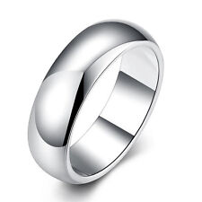 Silver Plated 925 Solid Plain Band Mens Engagement Wedding Ring Size K / 5 1381