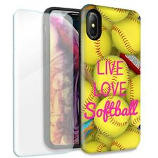 Love Softball Double Layer Case Glass Screen For Apple iPhone XS Max