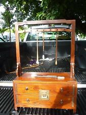 SUPERB ANTIQUE JAPANESE PAINTING CALLIGRAPHY BRUSH CABINET / CHEST / BOX W LOCK