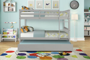 Full Over Full Bunk Bed With Trundle Wooden Twin Bed Frame With Storage Drawers