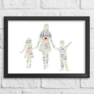 Personalised Mothers Day Present Gift Print Mum and Child Print word art Gift