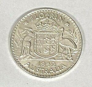 1942 Very High Grade - Silver Florin Coin ~ 92.5% Silver ~ Australia