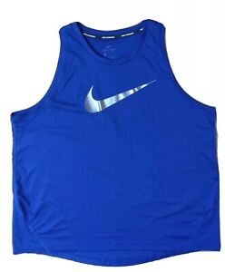 L NIKE RUNNING DRI-FIT BLUE TANK TOP STRETCH POLYESTER SPANDEX FOIL SWOOSH XCON