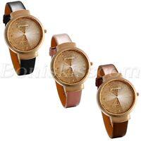 Women Stylish Charm Sands Starry Rhinestone Dial Leather Band Quartz Wrist Watch