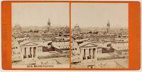 Milan Panorama Italia Foto Stereo Th1L6n45 Vintage Albumina c1875
